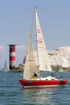 The Contessa 26 yacht 'Rooie Rakker' competing in the Round the Island race.