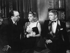 Alfred Hitchcock, Joan Fontaine et Laurence Olivier sur le tournage du film Rebecca, 1940