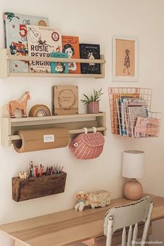 Thankfully school holidays have started early, but with next term operating from home, we've been hunting for the perfect set-up for kiddos. This is pretty perfect, no? We have a great range of storage solutions including the Mini Chari basket // via Deco Kids, Toy Rooms, Kids Room Design, Playroom Design, Big Girl Rooms, Baby Room Decor, Girls Bedroom, Ikea Girls Room, Girls Room Storage