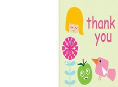 Free Printable Girl Thank You Card!