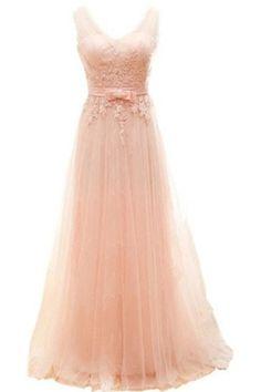 Charming Long Blush Pink Lace Elegant A-line Prom Dresses OK11
