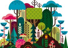 Geometrical illustrations by Patrick Hruby - Lost At E Minor: For creative people Illustration Mode, Forest Illustration, Watercolor Illustration, Graphic Art, Graphic Design, Design Design, Vector Art, Vector Illustrations, Vector Graphics