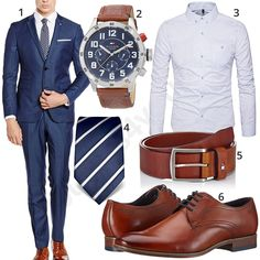 Business outfit for men with blue esprit suit, Tommy Hilfiger wristwatch, white Aiyino shirt, blue Vincenzo Boretti tie, brown Tommy Hilfiger belt and Bugatti business shoes. 1. Suit ▶ amzn.to/2HiiYwx 2. Clock ▶ amzn.to/2Et8JrH (-38%) 3. Shirt ▶ amzn.to/2sxzCVU (-42%) 4. Tie ▶ amzn.to/2EyF0xi 5. Belt ▶ amzn.to/2Ex4njm 6. Shoes ▶ amzn.to/2HlbFo8