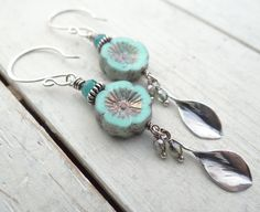 Pale Blue Pansy Earrings by Lost Sparrow Jewelry