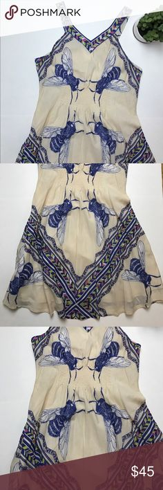Anthropologie - leifnotes brand 🐝bee🐝 dress Excellent condition- elastic waist, hello comfy!! It's the bees knees. Anthropologie Dresses