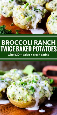 These Broccoli Ranch Twice Baked Potatoes are unbelievably rich with a creamy mashed potato center and a crispy potato skin.