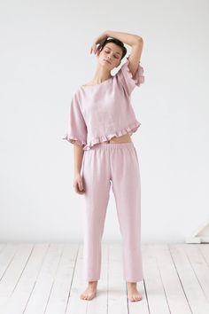 Linen Clothing, Loungewear, Pajamas& Sleepwear by ManInTheStudio Maternity Pjs, Cos Dresses, Pijamas Women, Lingerie Patterns, Jolie Lingerie, Tapered Trousers, Lingerie Outfits, Linen Blouse, Linen Pants
