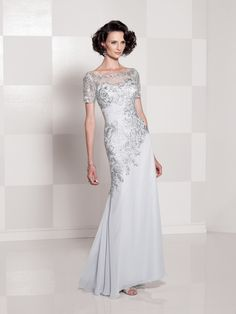 Cameron Blake by Mon Cheri Style No. 114662 #motherofthebride #motherofthegroom #motherdresses #dresses #dress #eveninggown #eveninggowns #long #silver #grey #moncheri