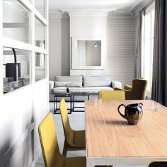 Casa: negro, blanco, gris y amarillo, elegante combinación