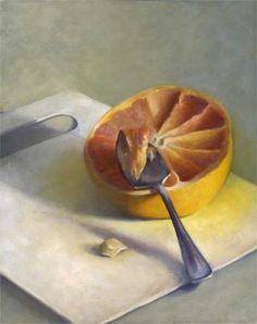 Grapefruit Spoon : oil painting still life  by Jo Bradney