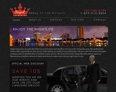 """www.RegalLimousinesTampaBay.com    Regal Limousines contacted us to create a """"Regal"""" internet experience for their clients. We delivered a """"stitched-leather"""" design that they are in love with."""
