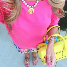 Monogrammed necklace and Tory Burch Miller Sandals