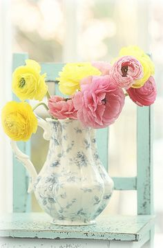 sweet blue floral pitcher with flowers