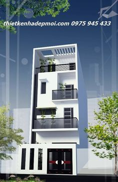 mau nha pho hien dai 3 tang 2016 mau nha pho hien dai 3 tang this post Flat House Design, 3 Storey House Design, Narrow House Designs, Bungalow Haus Design, Modern Small House Design, Narrow House Plans, Duplex House Design, Small Modern Home, House Front Design