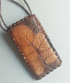 Items similar to Brown Leaf Pendant Handmade Polymer Clay Pendant Costume Jewelry Rectangle Woodland Themed Pendant Modern Jewelry Wearable Art on Etsy Bucket Bag, Pendants, Trending Outfits, Brown, Unique Jewelry, Handmade Gifts, Bags, Etsy, Vintage