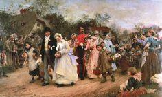 """Samuel Luke Fildes (British, 1843-1927), """"The Village Wedding"""""""