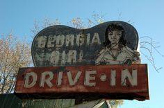 Camden County GA US Highway 17 Georgia Girl Drive In Restaurant Neon Sign Abandoned Roadside Americana Photo Copyright Brian Brown Vanishing South Georgia