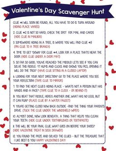 Valentine Scavenger Hunt for Kids (Free Printable!) I'm so excited to finally…
