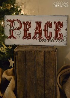 Hand Painted Vintage Christmas Sign -  Peace On Earth - Christmas Decorations - Order Your Custom Sign - Church Street Designs