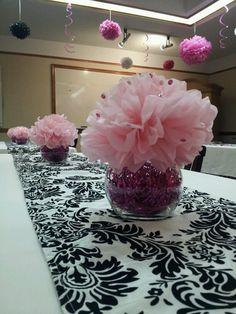 Pink tissue flower centerpieces