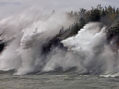 Fierce Lake Superior waves pound Minnesotas north shore