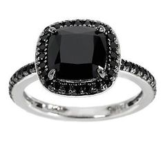 3.00 ct tw Black Spinel Cushion Cut Solitaire Sterling Ring