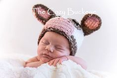 Newborn Brown Cow Hat Animal Character Hat  by TheCozyBuckeye