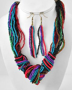 Burnished Gold Tone / Multi Color Acrylic Seed Bead / Lead Compliant / Multi Strand Necklace & Fish Hook Earring Set