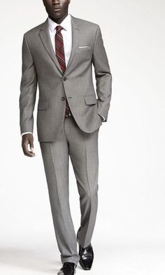 Fitted gray suit