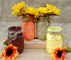 Hey, I found this really awesome Etsy listing at https://www.etsy.com/listing/200633701/fall-centerpiece-mason-jar-vases