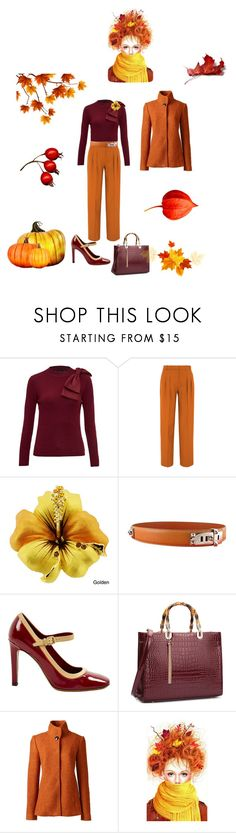 """""""Untitled #1850"""" by fanisikelianou on Polyvore featuring Ted Baker, Victoria, Victoria Beckham, Hermès, Louis Vuitton and Lands' End"""