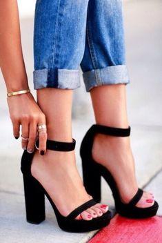Thick heel black heels