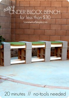This FAST tutorial will show you the EASIEST way how to make a cinder block bench. Simple seating that takes only minutes to make! Cinder Block Furniture, Cinder Block Bench, Bench Block, Cinder Block Ideas, Cinder Block House, Cinder Block Shelves, Cinder Block Fire Pit, Cinder Block Garden, Outdoor Seating
