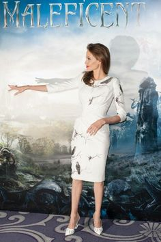 White dress !!! birds twigs Maleficent Angelina Jolie