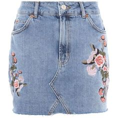 Topshop Moto Denim Floral Skirt ($47) ❤ liked on Polyvore featuring skirts, mini skirts, bottoms, topshop, mid stone, blue skirt, floral mini skirt, short mini skirts, topshop skirts and denim skirt