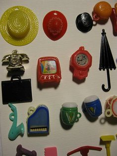 Cracker jack or gumball machine trinkets. I remember getting the hamburger, the phone, and some of the instruments. I loved this little stuff! Retro Toys, Vintage Toys, Retro Vintage, Childhood Toys, Childhood Memories, Cracker Jacks, Gumball Machine, Tiny Treasures, Ol Days