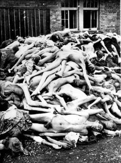 Dachau, Germany, A pile of bodies strewn in a camp barrack, after the liberation.