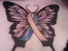 Make butterfly pin with changeable awareness ribbon... hmmm... Butterfly tat with CUSHINGS DISEASE awareness ribbon in the center. Don't know what Cushing's is? Just ASK! (icybluesnow@gmail.com)