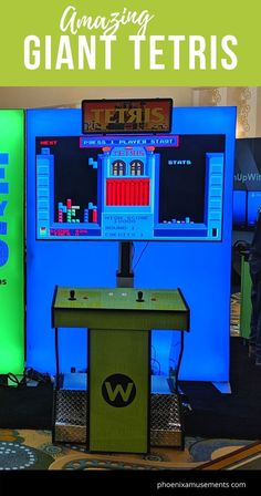 Amazing Giant Tetris Arcade Machine - Awesome Big Arcade Game in a Custom built Tetris with a huge monitor to play this retro game! Play Tetris, Giant Games, Arcade Machine, Interactive Activities, Event Marketing, Old Games, Big Game, Trade Show, Arcade Games