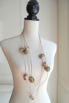 Textile Jewelry / Fiber Jewelry / Long Golden door MaterialAtelier