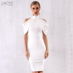 a9259becfed Adyce 2019 New Summer Celebrity Evening Party Dress Women Elegant White Off  Shoulder Sexy Draped Halter