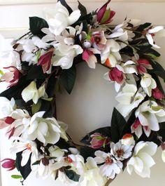 Spring Wreath Magnolia Wreath Wedding Wreath by WreathsByBobette, $135.00