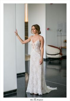 An all-over ivory lace wedding gown with a nude illusion top. Beaded spaghetti straps, a seamless-look waist with low hip side-details and a chapel train. Boho Bride, Wedding Bride, Wedding Gowns, Lace Wedding, Princess Wedding Dresses, Bridal Dresses, Magical Wedding, Chapel Train, Spaghetti Straps