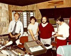 Erdal Kızılçay (red jeans) with David Bowie (far left) & Nile Rogers (far right), Let's Dance demos, 1982 Source