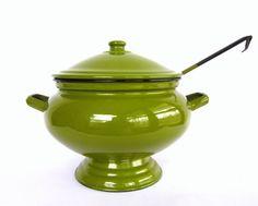 Vintage Green Enamel Soup Tureen by CedarRunVintage
