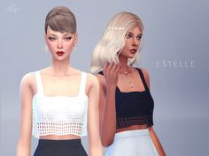 The Sims Resource: Cropped Tank Top ESTELLE by Starlord • Sims 4 Downloads