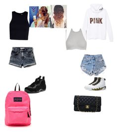 """""""Boring outfit"""" by yahiness ❤ liked on Polyvore featuring Victoria's Secret PINK, NIKE, Runwaydreamz, Agent Provocateur, T By Alexander Wang, JanSport, Abercrombie & Fitch, Chanel, women's clothing and women's fashion"""