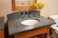 Bathroom Ideas, Bathroom Countertops With Gray Marble On The Top And Round Vessel Sink: Contemporary Bathroom Countertops To Increases Your Bathroom Beauty