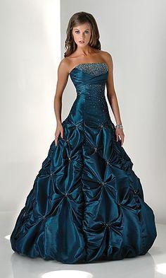 Teal prom dress.
