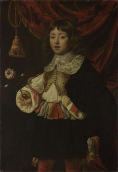 ab. 1660 Flemish artist - Portrait of a Boy holding a Rose